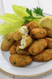 Salt cod (bacalhau,bacalao) fritters, croquettes Stock Images