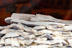 Salt cod. Pieces of cod seasoned with salt displayed for sale Royalty Free Stock Photography