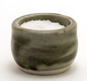 Salt Container. Macro photography of salt in a container Royalty Free Stock Image