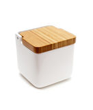 Salt container with wooden lid Stock Photo