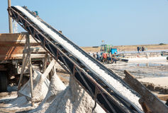 Salt conveyor in Pomorie, Bulgaria Stock Photo