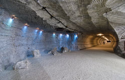 Salt corridor. Corridor in the salt mine Stock Image