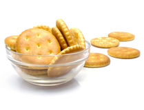 Salt crackers food in the glass vase isolated Stock Image