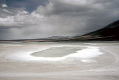 Salt crust on a Lagoon in Bolivia,Bolivia Stock Image