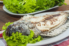 Salt Crusted Grilled Fish Stock Image
