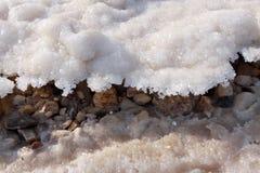 Salt crystallisation. At coast of the Dead Sea Stock Photos