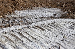 Salt crystallisation at coast of the Dead Sea, Jordan Stock Photos