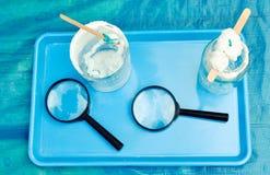 Salt crystallization - children's experiment Royalty Free Stock Image