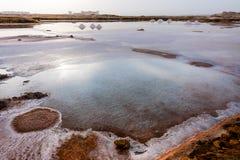 Salt crystallization pond Royalty Free Stock Photo
