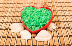 Salt crystals in a heart shape. Royalty Free Stock Photo