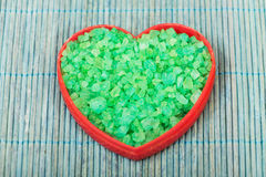 Salt crystals in a heart shape. Royalty Free Stock Photography
