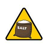 Salt danger warning sign. Salt warning sign; Caution symbol; Salt sack Royalty Free Stock Photos