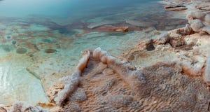 Salt at the Dead Sea beach. Jordan. Royalty Free Stock Images