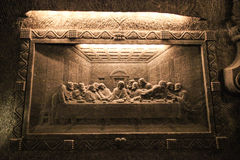 Salt decorations (Lord's Supper) in chapel Wieliczka Salt Mine Royalty Free Stock Photo