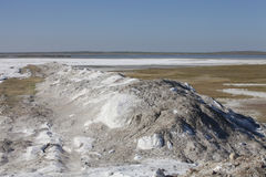 Salt deposits in Saskatchewan, Canada. Fields of natural salt deposits in the prairies of Chaplin, Saskatchewan, Canada Royalty Free Stock Photo