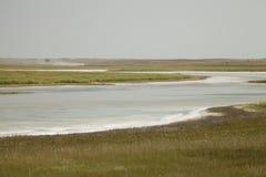Salt deposits in Saskatchewan, Canada. Fields of natural salt deposits in the prairies of Chaplin, Saskatchewan, Canada Royalty Free Stock Photos