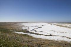 Salt deposits in Saskatchewan, Canada. Fields of natural salt deposits in the prairies of Chaplin, Saskatchewan, Canada Stock Photography