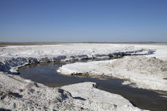 Salt deposits in Saskatchewan, Canada. Fields of natural salt deposits in the prairies of Chaplin, Saskatchewan, Canada Royalty Free Stock Images