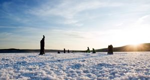 Salt desert. Snowy salt surface on brine lake Stock Photo