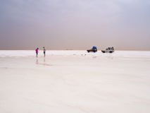 Salt desert and lake, Ethiopia Royalty Free Stock Images