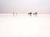 Salt desert and lake Royalty Free Stock Photo