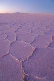 Salt desert at sunset Stock Photo