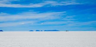 Salt Desert, Uyuni, Bolivia. Panorama of the Salt Flats Stock Photos