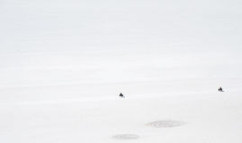 Salt Desert, Uyuni, Bolivia. Two bikes crossing the Salt Flats Royalty Free Stock Image
