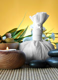 Salt and essential round stones for massages Royalty Free Stock Images