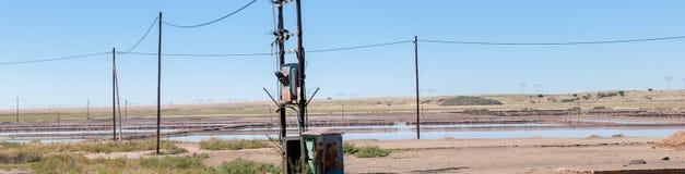 Salt evaporation dams at Dealesville Stock Photos
