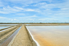 Salt evaporation pond against blue sky Stock Image