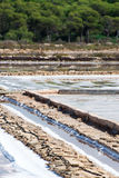 Salt evaporation pond. Stock Photos