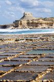 Salt evaporation ponds. Off the coast of Gozo Royalty Free Stock Image