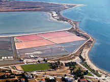 Salt evaporation ponds. Aerial view stock images