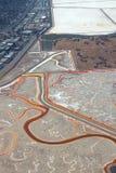 Salt evaporation ponds. Aerial view of salt evaporation ponds near Redwood City, California stock image