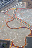Salt evaporation ponds. Aerial view of salt evaporation ponds near Redwood City, California royalty free stock photography