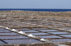 Salt evaporation ponds, Fuerteventura, Spain Stock Photography