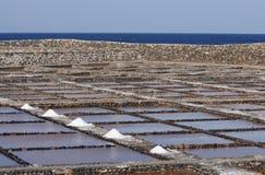 Salt evaporation ponds, Fuerteventura, Spain. Salt evaporation ponds near Caleta de Fuste on Canary Island Fuerteventura, Spain stock photography
