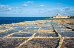 Salt evaporation ponds on Gozo island, Malta Stock Images