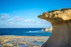 Salt evaporation ponds on Gozo island, Malta.  Royalty Free Stock Photos