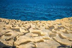 Salt evaporation ponds on Gozo island, Malta.  Stock Photography