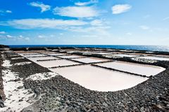 Salt evaporation ponds, La Palma Stock Images