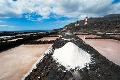 Salt evaporation ponds and Lighthouses, La Palma Royalty Free Stock Images