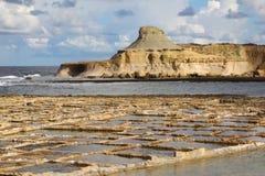 Salt evaporation ponds, Malta Royalty Free Stock Photos
