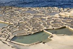 Salt evaporation ponds, Malta Stock Image