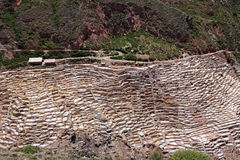 Salt evaporation ponds in Maras in Peru. Salt ponds in Maras in Peru on a sunny day Stock Image