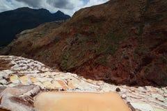 Salt evaporation ponds. Maras. Sacred Valley. Cusco region. Peru. Maras is a town in the Sacred Valley of the Incas, in the Cuzco Region of Peru Stock Photo