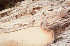 Salt evaporation ponds. Maras. Sacred Valley. Cusco region. Peru. Maras is a town in the Sacred Valley of the Incas, in the Cuzco Region of Peru Royalty Free Stock Images