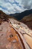 Salt evaporation ponds. Maras. Sacred Valley. Cusco region. Peru. Maras is a town in the Sacred Valley of the Incas, in the Cuzco Region of Peru Stock Images
