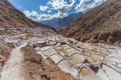Salt evaporation ponds and mines built by Incas in Maras,  Peru Stock Photos